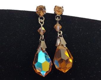 Brown Aurora Borealis Earrings, Brown AB Crystal Earrings, Brown Dangle Earrings, Crystal Earrings, Earrings