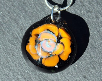 Glass Flower Pendant, Implosion Lampwork Pendant, Hand Blown Rose Boro Jewelry,