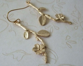 Cherry Blossom Earrings, Matte Gold Flowers, Gift for Her, Birthday, Mother's Day