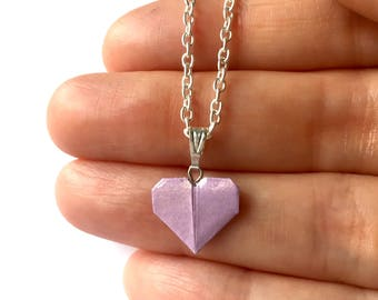 Origami Heart Necklace // Lavender Heart Necklace // Valentine Necklace // First Anniversary // Girlfriend Gift