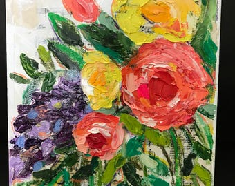 Original Artwork, Floral, Oil Painting, Mixed Media, Palette Knife Painting, Decor