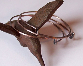 Stackable Copper Bangles - 3 THICK Knotted Hammered and Oxidized or Natural Shine Bangle Bracelets - Made to Order