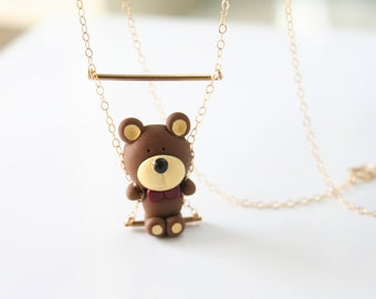 Teddy bear on a swing necklace -14k Gold filled-