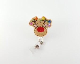 Reindeer - Felt Badge Reel - RN Badge Reel - Nurse Badge Holder - Retractable Badge - Badge Clip - Christmas - ID Badge Reel - Pediatric