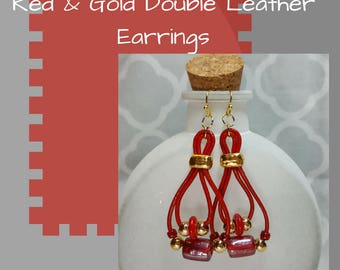 Red & Gold Double Leather Earrings, Holiday Red Earrings, Red Luster Earrings, Dangle Earrings, Gift for Her