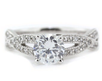 Twisted Band Moissanite Engagement Ring Diamond Ring