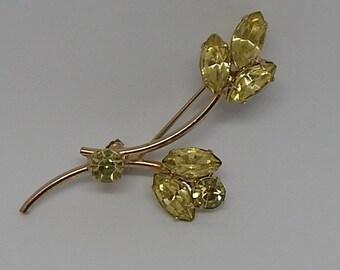 Vintage Brooch Yellow Rhinestone Leaf Gold Tone  2.5 inch by 2 inch