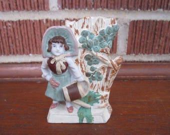Antique German Bisque Lovely Figural Little Girl Spill Vase