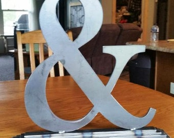 Large Metal Ampersand (And Sign) With Base for Weddings, Anniversaries, Home Decor