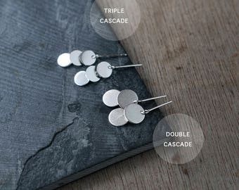 Cascading Double or Triple sequin silver earrings