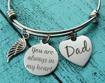loss of father, remembrance memorial gift dad, sympathy gift father, you are always in my heart, memorial bracelet, in loving memory of Dad