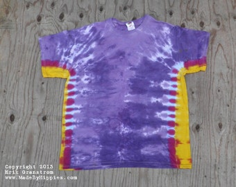 Purple and Gold Tie Dye T-Shirt (Fruit of the Loom Size L) (One of a Kind)