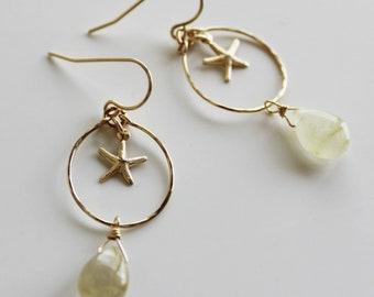 Rutil quartz starfish earrings/goldfilled