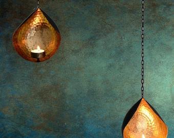 Tea light holders, tea light holders wedding, chain tea light holder, hanging tea light holder, hammered metal holder, tea light holder gold