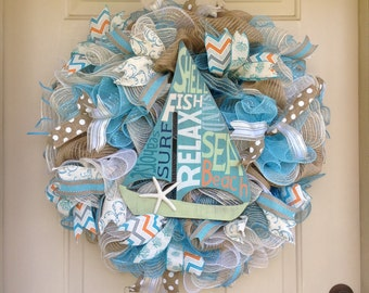 Extra Large Sailboat Wreath, Beach wreath, coastal Wreath,Sailing Wreath, Nautical wreath,