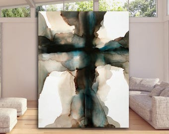 Large Abstract Painting Cross Art Stretched Canvas Print 40 x 30 Wall Art Modern Masculine Blue Black Cream Minimalist Interior Design