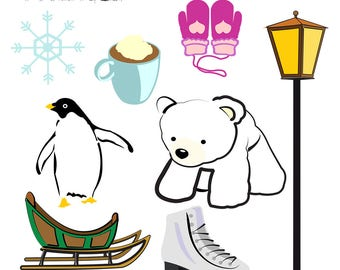 Winter Clipart, Polar Bear Clipart, Sleigh Clipart, Lamp Post Clipart, Ice Skate Clipart, Penguin Clipart, Digital Download