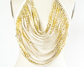 African Print Body Necklace Vegan Leather White and Gold