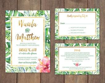 Wedding Invitation Suite, Tropical Island Wedding Invitation, Destination Wedding Invitation Suite, Beach Wedding Invitation Set - Waiola