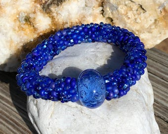 Blue Moon bead crochet bracelet