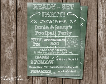 Football Party Invitation, Football game appetizer invitation, Tailgate Party, Matching Thank You, Digital file, Printable