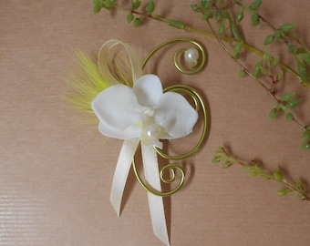 Shawl - attache to bridal ivory and lime green with Orchid