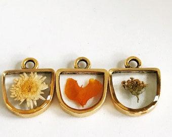 Pressé de minuscules moderne demi cercle pendentif fleur rempli de petite camomille, pétale orange et à l'aneth