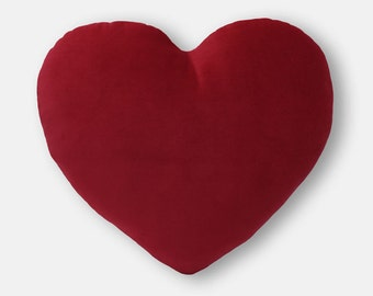 Valentine's Heart Shaped Decorative Pillow - Deep Red Velvet - Mini Size
