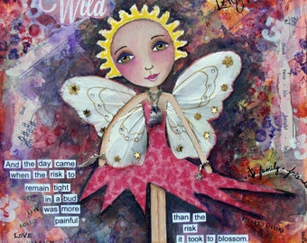 CRYSTAL, Fairy, Wild, Fairy art, Wings, Passion, Whimsical, mixed media art, children's room, mixed media print, mixed media, Alicia J Hayes