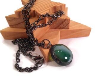 Green Glass Pendant Handmade Necklace Soldered Jewelry Green Necklace Glass Metal Jewelry Green Drop Pendant Green Glass Jewelry Gift Idea