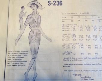Modes Royale S-236 Womens 60s Shirtwaist Dress Sewing Pattern Size 14 Bust 34