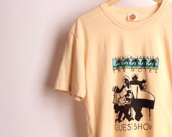 Vintage 70 s 80 s Jamaïque hôtel «Afficher les commentaires» piano-bar super doux t-shirt top