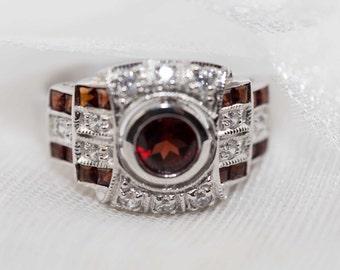 Art deco garnet ring - Garnet and silver ring / 1920's design / vintage jewelry / garnet ring / Deco jewelry