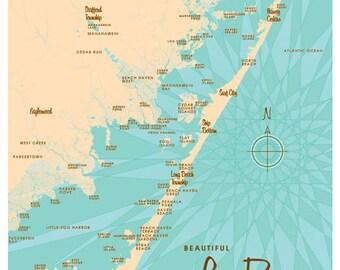 Long Beach Island, NJ Map Print