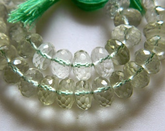 Green Amethyst Beads, Green Amethyst Micro Faceted Rondelles, 8mm, 5 Inch Half Strand,  25 Pieces Approx