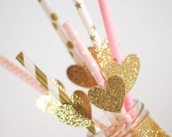 Glitter Heart Party Straws - Paper Party Straws - Pink and Gold Straws - Bridal Shower - Bachelorette Party - Party Supplies