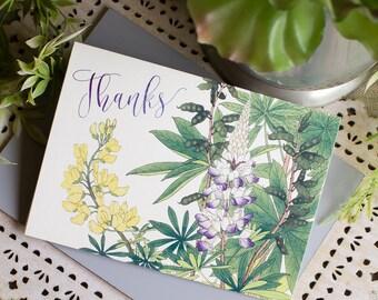 Texas Bluebonnet Thank You Notes - wildflower thank you notecard set - wedding thanks