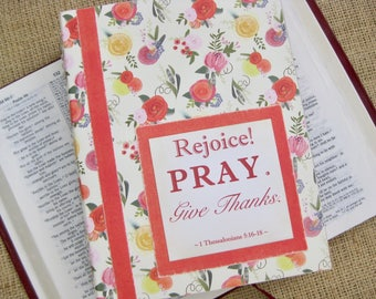 Legacy Prayer Journal, Bound Book, Watercolor Ranunculus in Coral, Lavender, & Yellow with Coral Floral Accents
