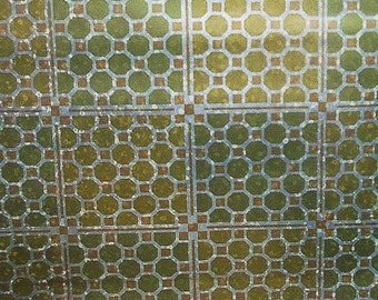 Wallpaper Vintage Metallic Foil Wallpaper Gold Green Silver Octagon Mid century Modern Geometric Mylar Double Roll NOS
