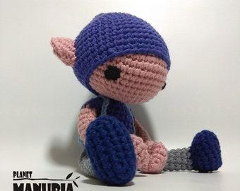 Dark blue amigurumi Elf boy, crochet doll, forest elf, stuffed toy, nursery decor,