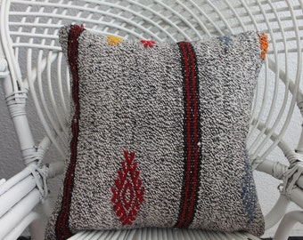 Decorative Kilim Pillow Turkish Emroidery Kilim Pillow 16x16 Cushion Covers Kilim pillow Floor Pillow Vintage Turkish Kilim Pillow 959
