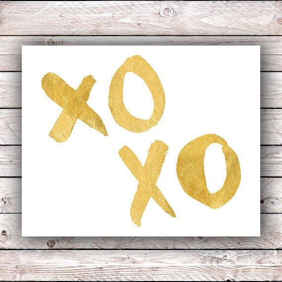 XOXO art print FAUX Gold foil printable wall art Fashion wall