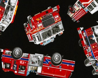 Tossed Fire Trucks Fabric Fat Quarter, Third Yard, Half Yard, or By The Yard; C5504; Timeless Treasures; Firetruck; Fire Engine; Rescue