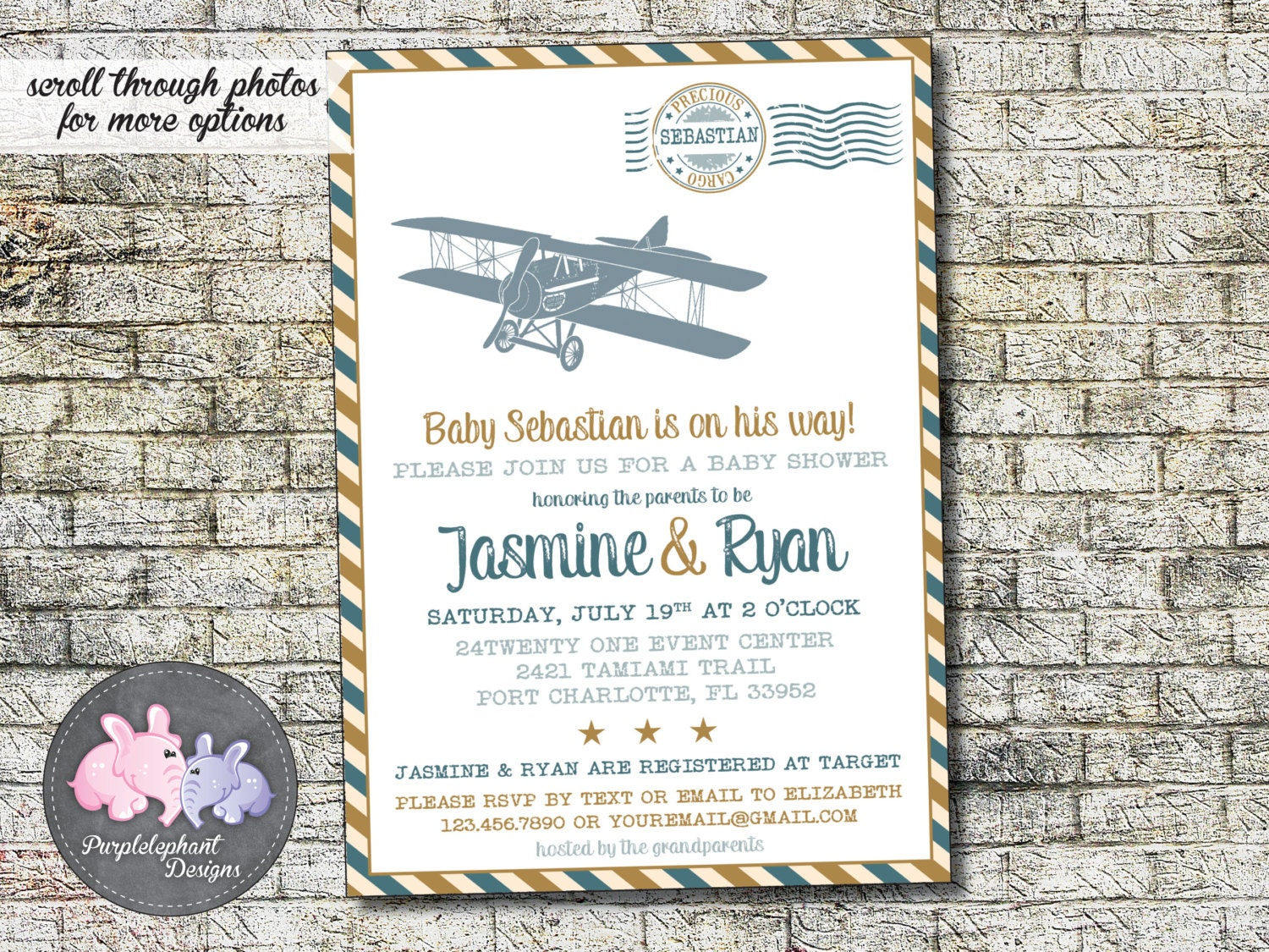 Precious Cargo Baby Shower Invitation Airplane Baby Shower