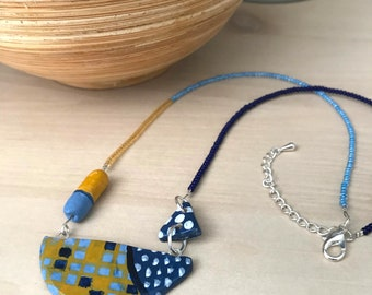 Clay necklace, geometric clay necklace, polymer clay pendant, abstract necklace, navy and mustard clay necklace, hand painted, unique design