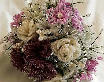 Fabulous Fully Beaded Bouquet in vintage colours of Pink, cream and mauve - Bridal Bouquet Wedding Bouquet