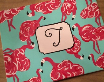 Lilly Pulitzer inspired gimme a leg flamingo canvas with monogram