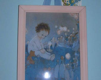 Vintage Baby with Fairies print framed and glittered.