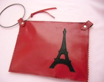 New Cherry Red Leather Clutch with Eiffel Tower Motif-MADE TO ORDER