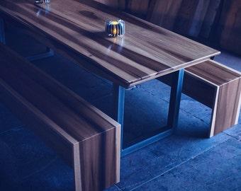 Minimalist Modern Industrial Office Desk or Dining Table // Sun Tanned Poplar // Steel Base Legs